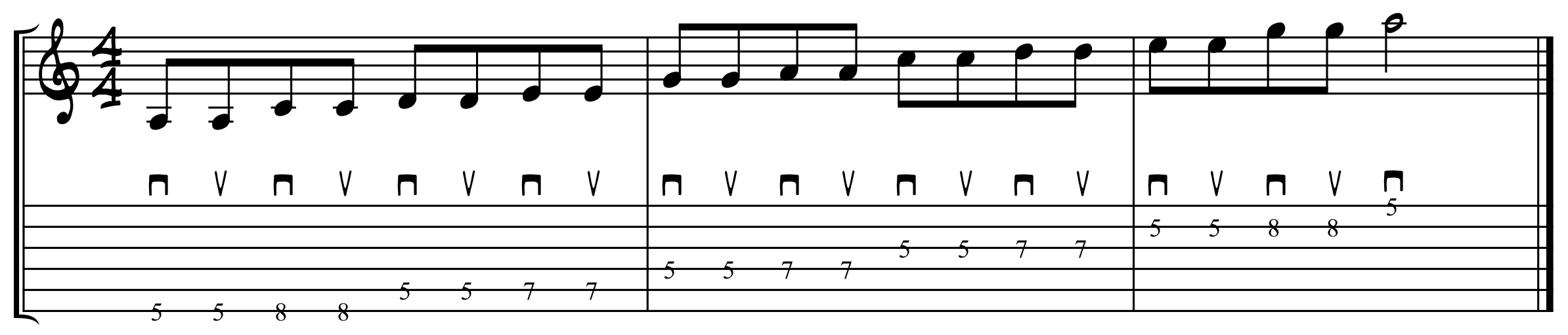 A minor pentatonic alternate picking exercise