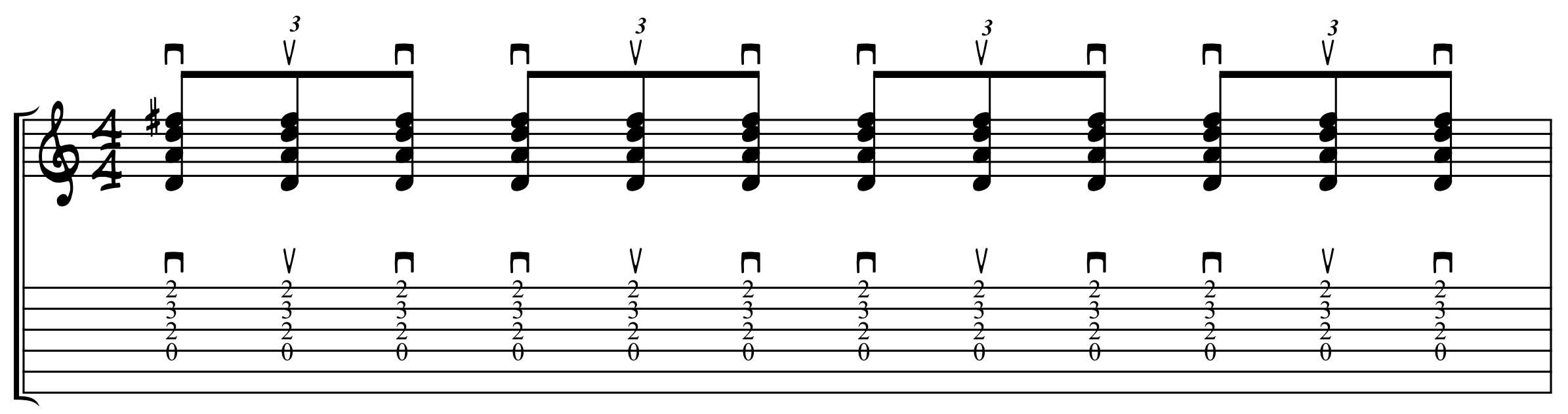 Eighth Note Triplet Strums Downstroke on Beat