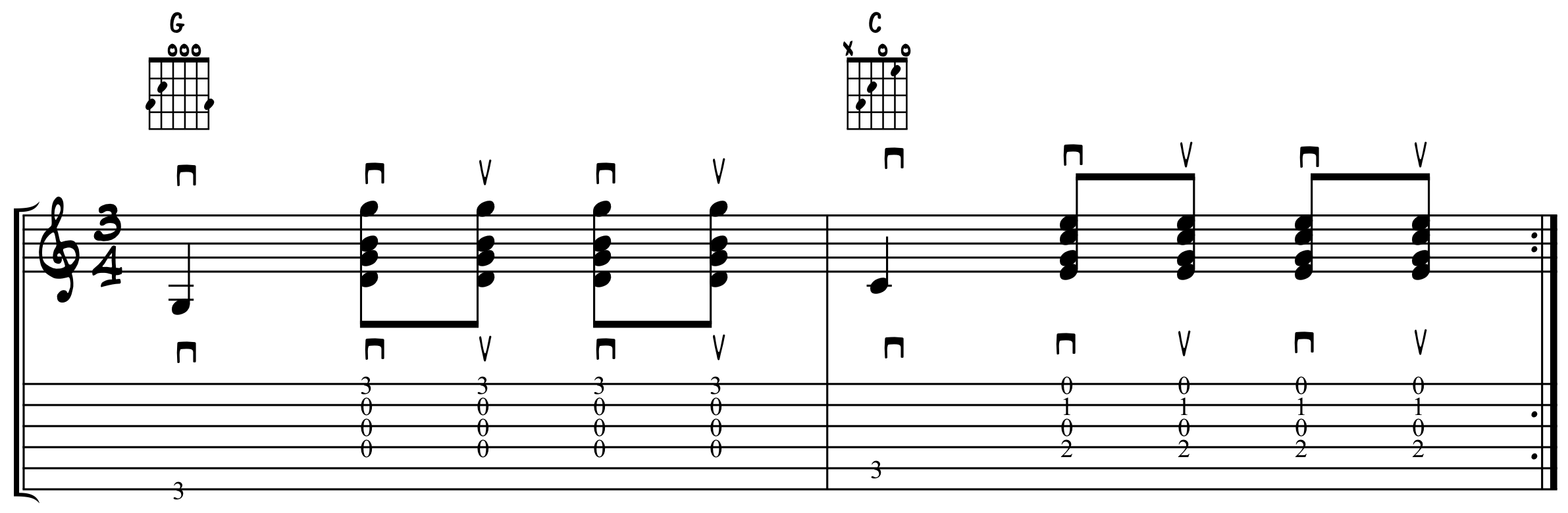 Eighth Note Base Note Strum in 3/4